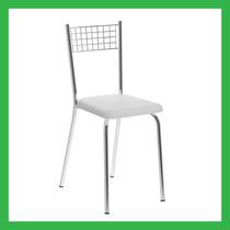 Cadeira De Cozinha Cromado C/ Assento Branco 141 Carraro