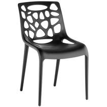 Cadeira Giovana Preta. Polipropileno Com Fibra De Vidro