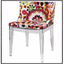 Cadeira Mademoiselle Tecido Floral (b) Base Policarbonato