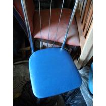 4 Cadeira De Cozinha E Sala Cromada Assento Napa Azul