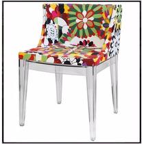 Cadeira Mademoiselle Tecido Floral (d) Base Policarbonato