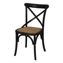 Cadeira Katrina Paris Com Assento Em Rattan - Preta