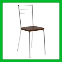 Cadeira De Cozinha E Sala Nivea Cromada Assento Napa Cacau