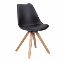 Cadeira Importada Preta Pés Madeira Confortável Bonita