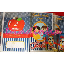 20 Revistas De Colorir Personalizadas 15x 21cm+giz De Cera
