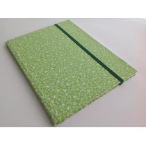 Caderno Brochura S/ Pauta 200x275 Capa Tecido Floral Verde