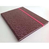 Caderno Brochura S/ Pauta 200x275 Capa Tecido Marrom