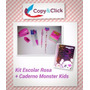 Kit Material Escolar Rosa + Caderno 300 Folhas Monster Kids