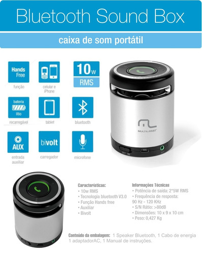 Caixa De Som Multilaser 10w Rms Aux Mini Bluetooth Sp155