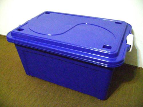 Caixa Plástica Organizadora Com Tampa E Rodízio 60 Litros