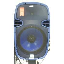 Caixa Ativa Azul 15 Pol Usb Bluetooth 2 Mic Sem Fio, 500 Rms