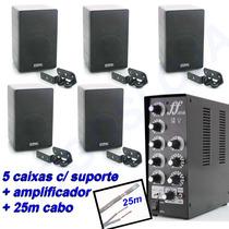 Som Música Ambiente Amplificador Caixa De Som Para Loja 5 Cx