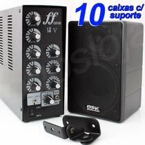 Kit Som Música Ambiente Amplificador Caixa De Som Para Loja