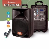 Caixa De Som Ativa Com Bateria Dr08 Bat Mic S/fio+fm+usb