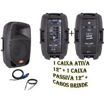 Kit Caixa Ativa 12 + Caixa Passiva 12 + Cabos Brinde