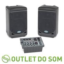Sistema Portatil De Som C/mixer+2 Cxs Acusticas Samson Xp150