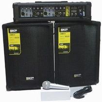 Kit Caixa Mixer Ativo Skp Crx-415 2 X 100w Rms Efeitos Usb M