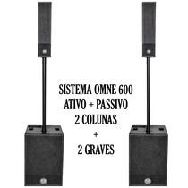 Caixa Ativa Omne 600 + Caixa Passiva Omne 600 - Coluna + Sub