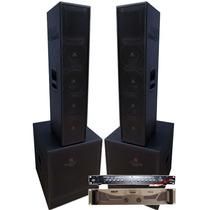 4 Caixas Line Vertical 4x8 Sub 18 Crossover Amplificad 4200w