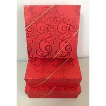 Caixas Para Presente -kit Quadrado Com Elástico - 3 Tamanhos