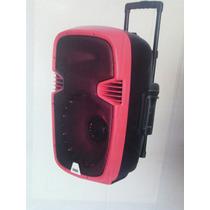 Caixa De Som Amplificada Ativa 15 Pol Usb Microfone Vermelha