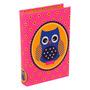 Book Box Corujinha Rosa Em Madeira Revestida Em Courino