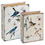 Conjunto Caixa Livro 2 Peças Pássaros Book Box Quarto Sala