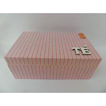 Caixa De Chá Forrada Com Tecido (mdf)
