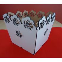 Cachepo Em Mdf Branco -rosas Vazada- Corte A Laser (ref008)