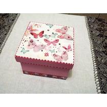 Caixa Em Mdf Decorada Borboletas Rosa 14 X 14 X 9,5