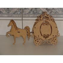 Carruagem Princesas Com 2 Cavalos - Enfeite De Mesa-cachepô