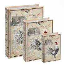 Conjunto Caixa Livro 3 Peças Book Box Decor Galo Cook