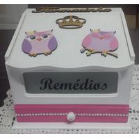 Caixa De Remédios (farmacinha) Decorada Corujinha