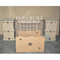 Kit Provençal Mdf 1 Mesa + 2 Cubos + Caixa Presente + Brinde