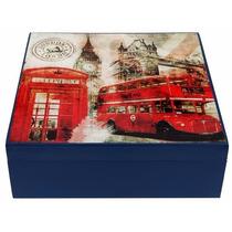 Caixa De Chá Decoração Mdf Decoupage Londres Inglaterra