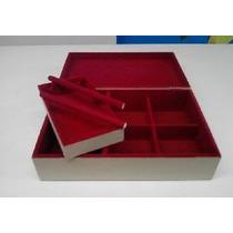 Caixa Flocada De Joia Com Porta Anel Vermelho