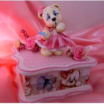 Caixa Decorada Em Mdf Decoupagem Ursinha Rosa