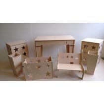 Kit Provençal Mdf Mesa Aparador+2cubos+banco+2cachepot+caixa