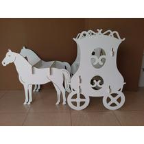 Carruagem Banco Cavalos Desmontável Mdf Branco Decor + Coroa