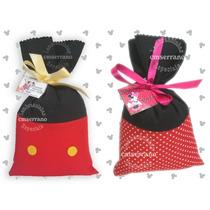 Saquinho Surpresa Tecido Do Mickey Mouse E Minnie Com Cartão