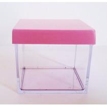 Caixinha De Acrílico Cristal 5x5 Tampa Rosa Chá 100 Unidades