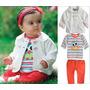 Conjunto 3 Peça Coruja Calça Camiseta Longa Blazer Inverno