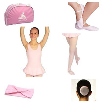 Rosa Kit Ballet 6 Peças (sapatilha,rede,bolsa,meia,collant)