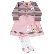 Vestido Infantil 4 Anos Sao 3 Peças, Vestido, Bolero E Meia