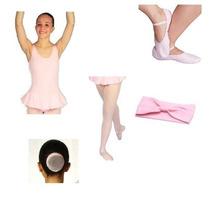 Rosa Kit Ballet 5 Peças (sapatilha,rede,faixa,meia,collant)
