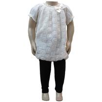 Conjunto Infantil Blusinha Social Creme Calça Legging Menina
