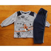 Conjunto Moleton Azul Dinsey Planes Infantil Menino Tam 1
