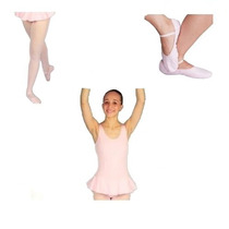 Rosa Kit Ballet 3 Peças Collant Meia Sapatilha Korino