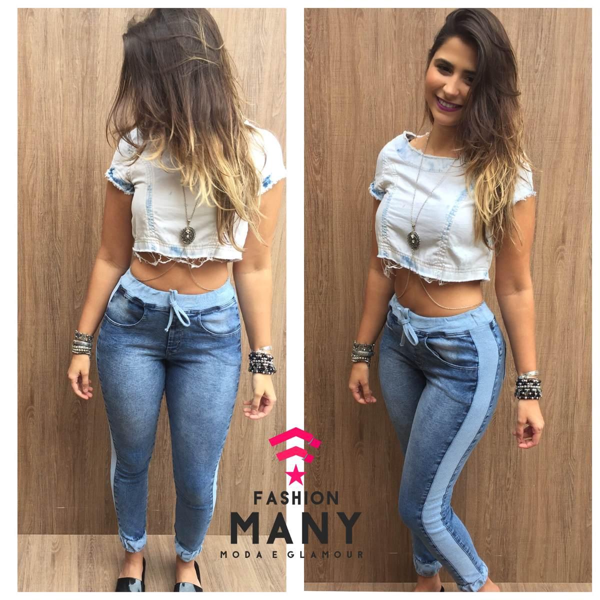 Calu00e7a Jeans Feminina Moletom Destroyed Cu00f3s Punho De ...