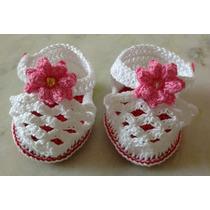 Sandália Feminina Em Crochê Para Bebê (2 A 4 Meses)